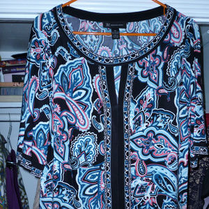INC XL poly spandex top black multi paisley